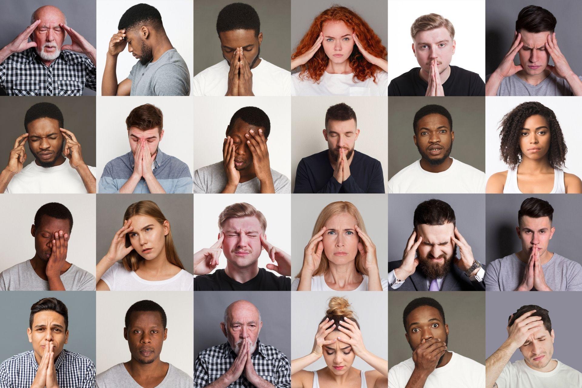 Group of people displaying burnout