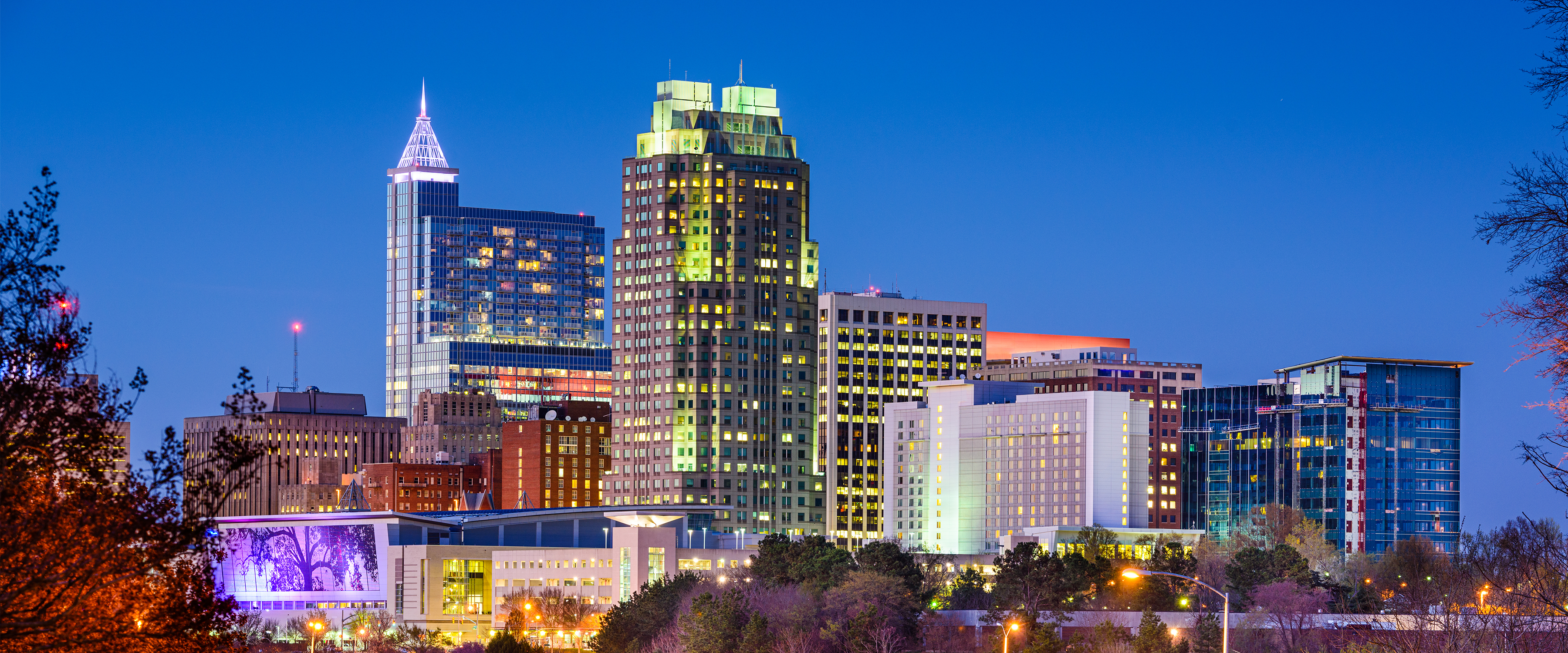 Raleigh, NC city skyline lite up at dusk